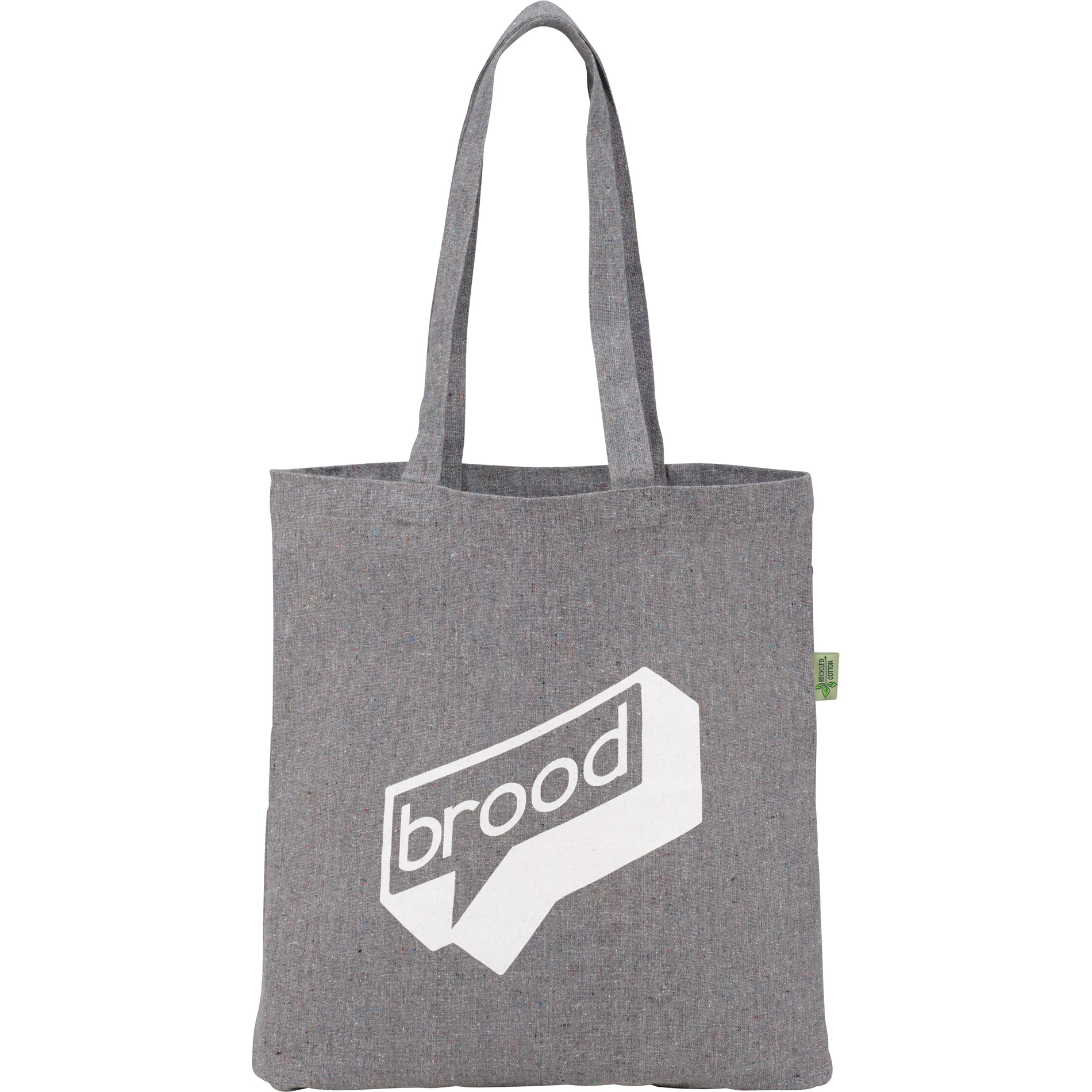 Gray multicolored recycled cotton fabric promotional tote with logo