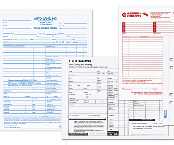 Custom multi-part business forms printed offset