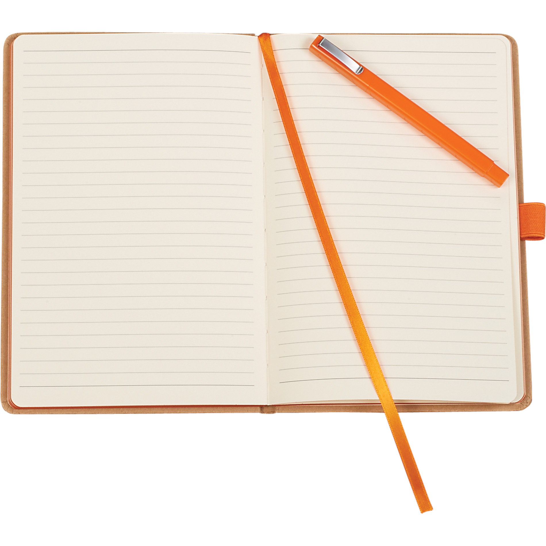 Eco-friendly journal set with matching pen opened.