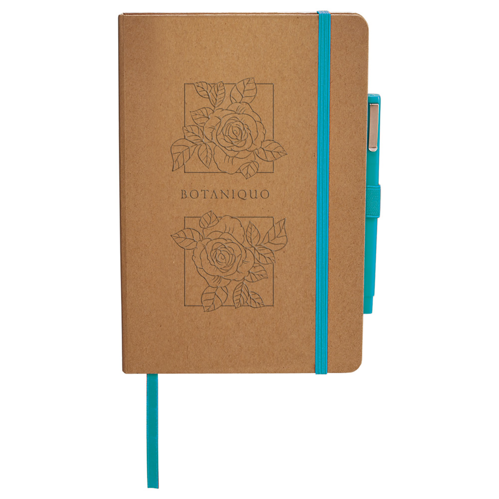 Eco friendly journal with teal accents and matching pen