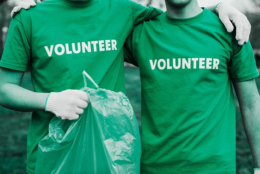 Volunteers in screen printed t-shirts