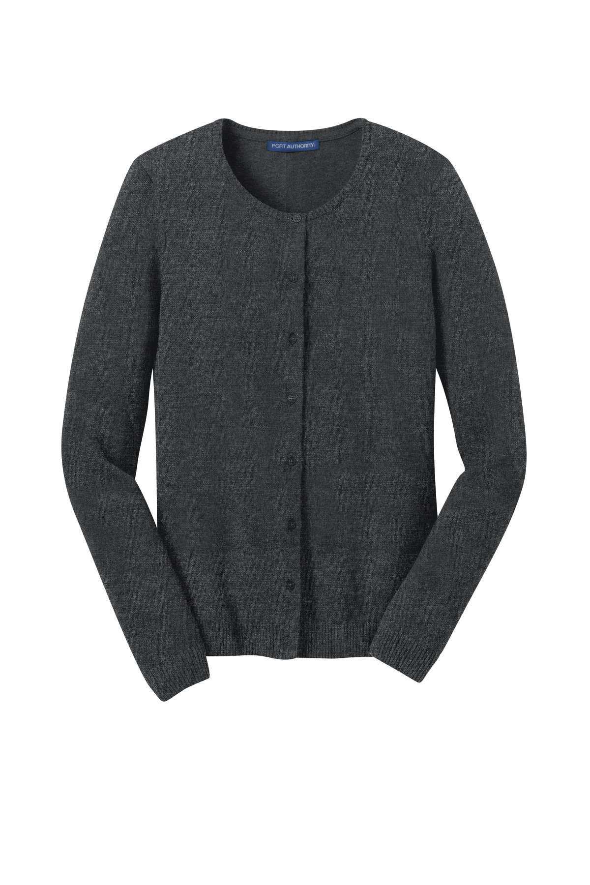 Port Authority® Ladies Cardigan Sweater in Charcoal